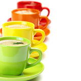 Colorful cups of coffee Royalty Free Stock Photography