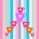 Colorful cups. Illustration with colorful cups Royalty Free Stock Photo