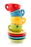 Colorful cups and saucers Royalty Free Stock Photos