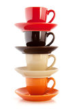 Colorful cups and saucers Royalty Free Stock Photo