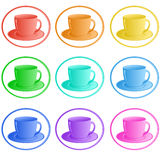 Colorful cups set Royalty Free Stock Photo