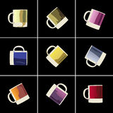 Colorful cups. For textiles or ceramics decorating Royalty Free Stock Photo