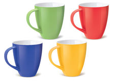 Colorful cups  on white. Vector illustration Stock Photography