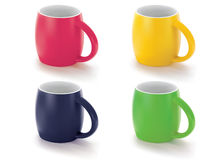 Colorful cups  on white. Stock Photo