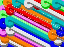Colorful curled lines. A colorful curled line background Stock Photography