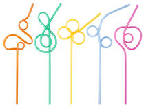 Colorful curly drinking straws Royalty Free Stock Images