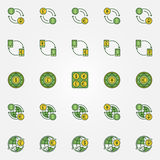 Colorful currency exchange icons. Vector dollar, euro, ruble, pound and yen currency green symbols. World money symbols Stock Images