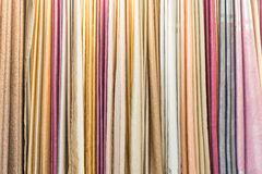 Colorful curtain samples hanging  Royalty Free Stock Photography