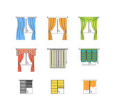 Colorful Curtains Types Thin Line Set. Vector Royalty Free Stock Images