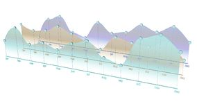 Colorful curve chart in a one year period. 3D illustration of a curve chart in a one year period Stock Photos