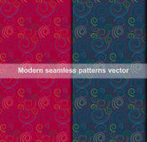 Colorful curve modern seamless patterns abstract background Stock Photo