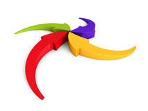Colorful Curving Arrows Sweep Inward To Point At Center. 3d Render Illustration Stock Images