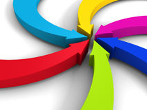 Colorful curving arrows sweep inward to point at the center Stock Image