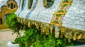 Colorful curving mosaic walls of Parc Guell, Barcelona, Spain stock image