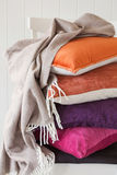 Colorful cushion throw cozy home mood.  royalty free stock images