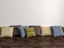 Colorful cushions on background white wall. 3d illustration Royalty Free Stock Image