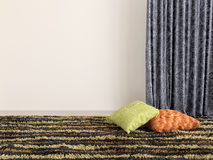 Colorful cushions and carpet. 3d illustration Royalty Free Stock Photography