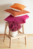 Colorful cushions cozy home autumn mood flower royalty free stock photography