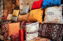 Colorful cushions in Marrakesh, Morocco Royalty Free Stock Photo