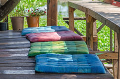 Colorful Cushions. Colorful Cushions for sitting in relax area Royalty Free Stock Images