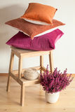 Colorful cushions throw cozy home autumn mood flower royalty free stock image
