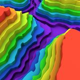 Colorful cut 3D topography levels background Stock Photo