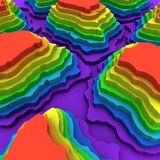 Colorful cut 3D topography levels background. 3D rendering Stock Photos