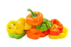 Colorful cut peppers Royalty Free Stock Photo