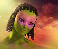 Colorful and Cute Alien Girl Royalty Free Stock Photos