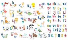 Colorful cute animal alphabet. With lowercase and uppercase Royalty Free Stock Photography
