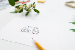 Colorful cute bicycle on greeting card, free space Stock Image