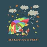 Colorful cute birds under umbrella Royalty Free Stock Photo