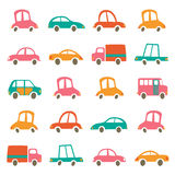 Colorful cute cars collection Royalty Free Stock Photography