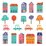 Colorful cute city collection - cars, houses and Royalty Free Stock Images