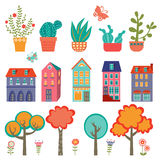Colorful cute city collection - plants, houses and Stock Photo