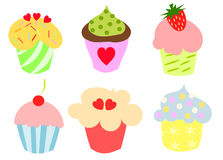 Colorful cute cupcakes. Set of six colorful cupcakes. Vector illustration Royalty Free Stock Photography