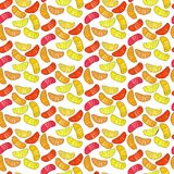 Colorful cute delicious tasty yummy ripe juicy lovely orange summer autumn dessert orange, mandarine and lemon slices pattern. Vector illustration Royalty Free Stock Photos