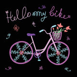 Colorful cute doodle bicycle vector illustration Stock Photos