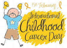 Colorful Cute Doodle of Boy for International Childhood Cancer Day, Vector Illustration Stock Photos