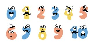 Colorful cute doodle monsters vector numbers set. vector cute numbers from 1 to 10. Set of cartoon numbers in flat style design. Collection of numerals for kids stock illustration