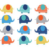 Colorful Cute Elephant Collections Royalty Free Stock Images