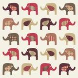 Colorful cute elephants background. Illustration Stock Photo