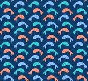 Colorful cute fish pattern on dark background simple flat vector. Navy blue Stock Image