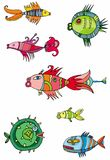 Colorful cute fishes. Vector collection of colorful fishes Royalty Free Stock Photo