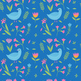 Colorful cute floral seamless pattern with birds, leaves and flowers. Colorful blue cute floral seamless pattern with birds, leaves and flowers Royalty Free Stock Photos