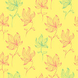 Colorful cute floral set with doodle flowers. Spring or summer design seamless pattern Stock Image