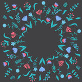 Colorful cute floral set with leaves and flowers Royalty Free Stock Photography