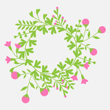 Colorful cute floral set with wreath leaves and flowers Stock Photos