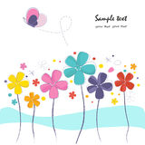 Colorful cute flowers with butterfly greeting card Stock Image