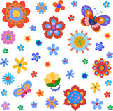 Colorful cute flowers and butterfly painted in a naive manner Stock Photography
